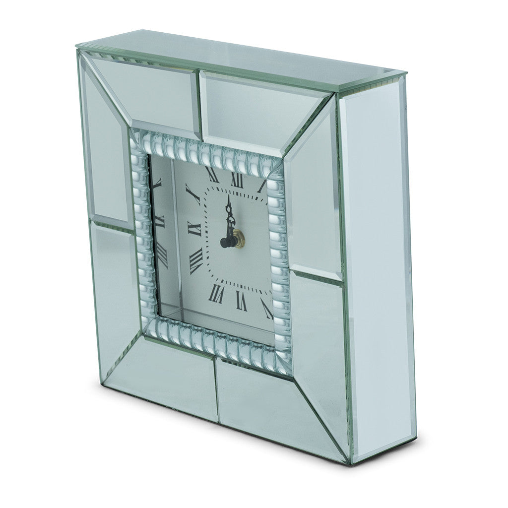 Chriss Mirror Square Table Clock, 25cm - Table Clocks - The Bowery - 2