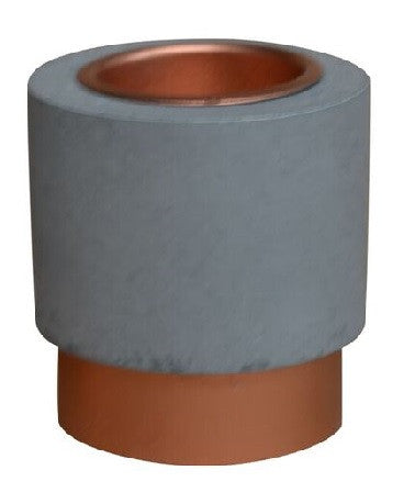 Concrete Look Tea Light Holder With Copper Colour Base 7 cm - Votive Holder - The Bowery
