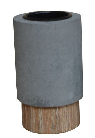 Concrete Look Tea Light Holder With Wood Grain Base 11cm - Votive Holder - The Bowery