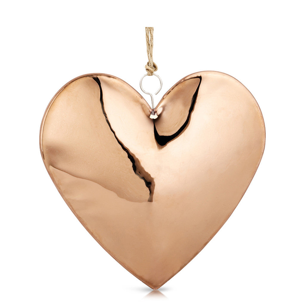Copper Heart With Jute String 15cm x 15cm x 2.5cm - Decor - The Bowery