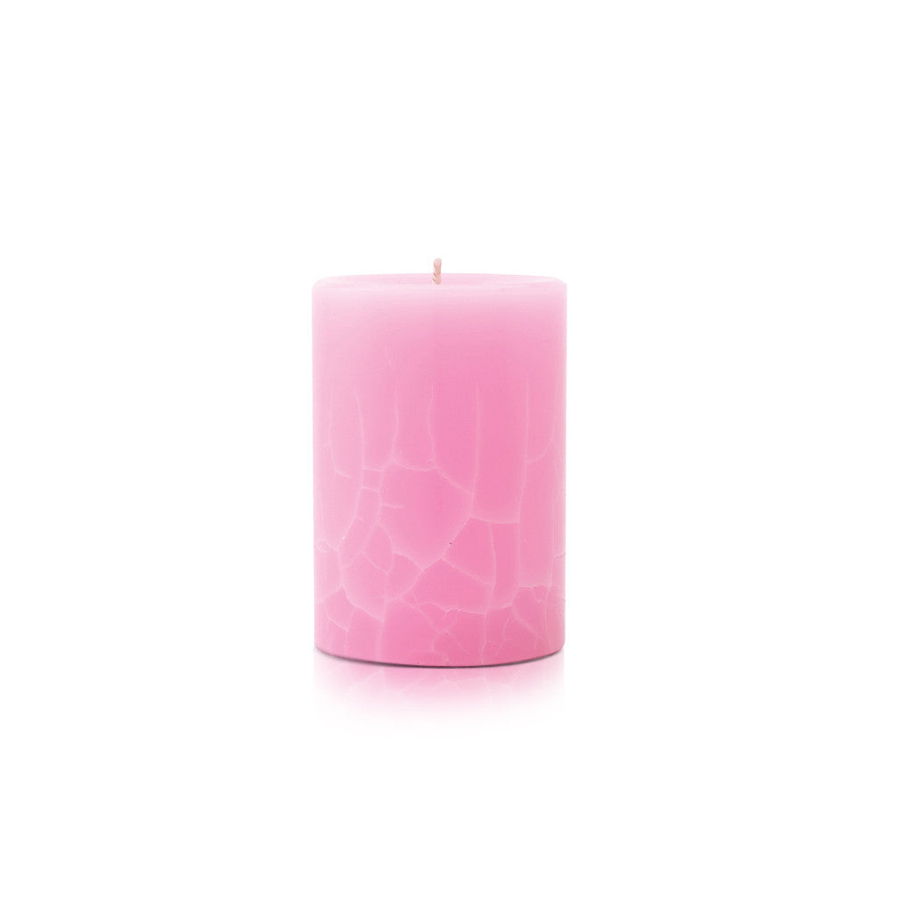 Crackle Pillar French Rose And Raspberry Scented Candle, 10cm x 7cm - Wax Candles - The Bowery
