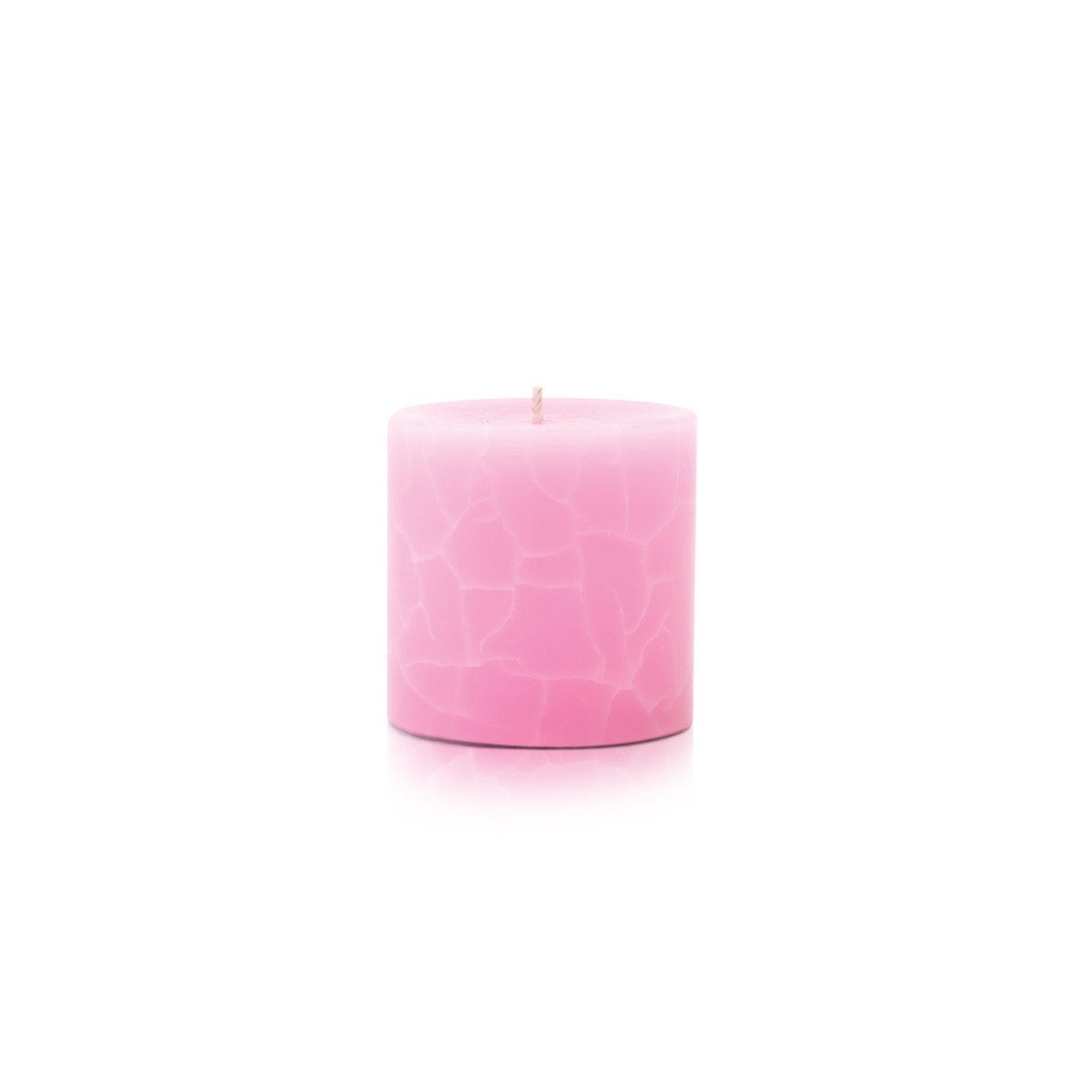 Crackle Pillar French Rose And Raspberry Scented Candle, 7cm x 7cm - Wax Candles - The Bowery