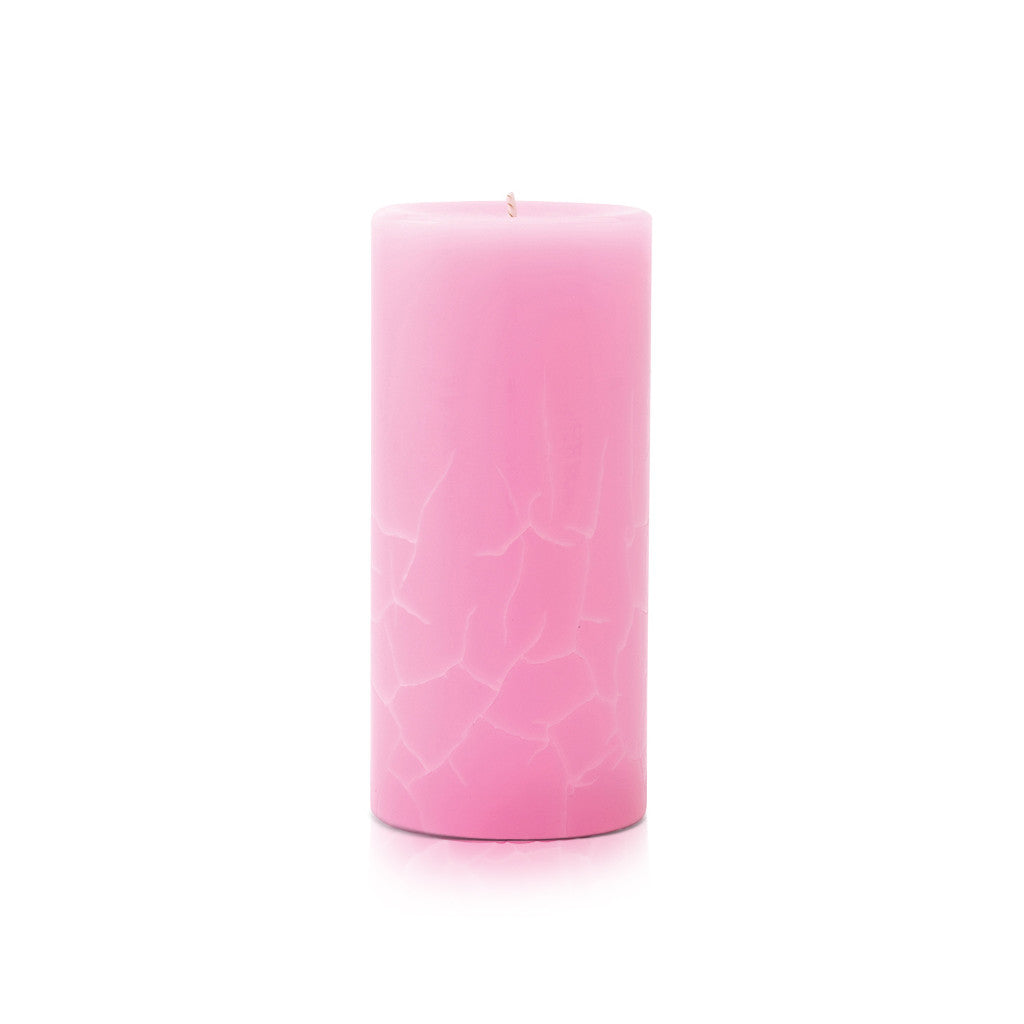 Crackle Pillar French Rose And Raspberry Tea Scented Candle, 15cm x 7cm - Wax Candles - The Bowery