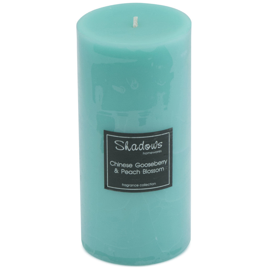 Crackle Pillar Gooseberry & Peach Scented Candle, 15cm x 7 cm - Wax Candles - The Bowery - 2