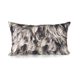 Cushion Feathers Print Cotton Grey 50cm x 30cm - Cushion - The Bowery
