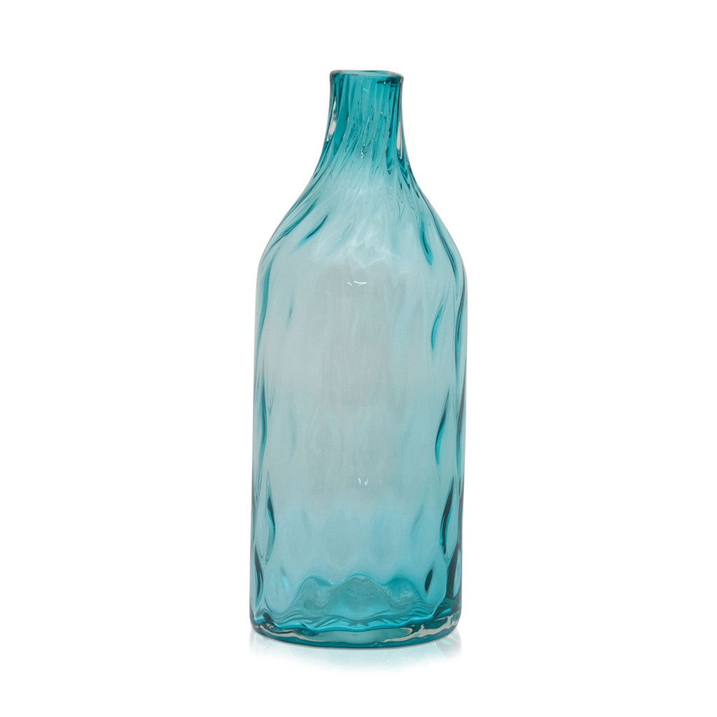Dwyer Teal Glass Diamond Pattern, 40 cm - Vase - The Bowery - 1