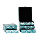 Fairview Mint & Teal Chevron Decorative Box, 13 cm - Boxes - The Bowery - 2