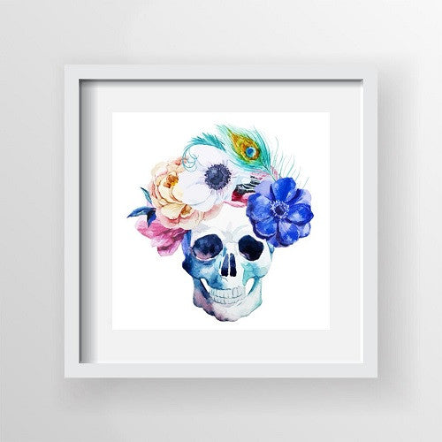 Framed Artwork 'Candy Skull with Feathers' 60cm x 60cm - Framed Prints - The Bowery