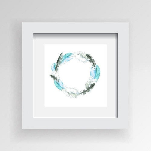 Framed Artwork 'Circle of Feathers in Blues' 30cm x 30cm - Framed Prints - The Bowery