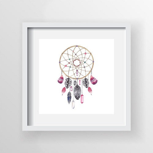 Framed Artwork 'Dream Catcher Beads and Feathers' 60cm x 60cm - Framed Prints - The Bowery