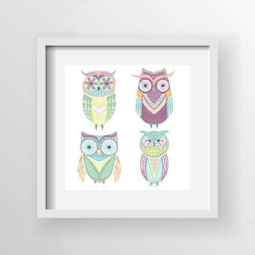 Framed Artwork 'Owls' 60cm x 60cm - Framed Prints - The Bowery