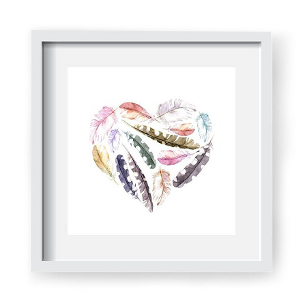 Framed Artwork 'Feathers in a Heart' 60cm x 60cm - Framed Prints - The Bowery