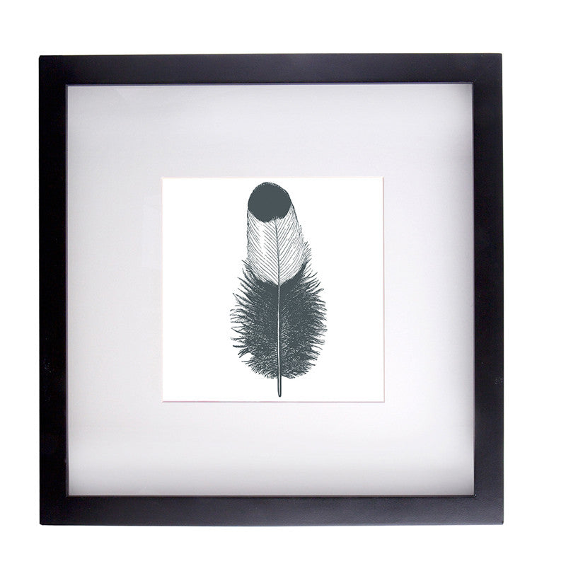 Framed Print 'Feather White' 40cm x 40cm - Framed Print - The Bowery