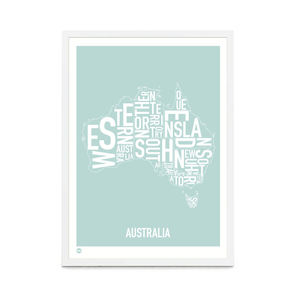 Framed Print, Australia Type Map, Duck Egg Blue, 53cm x 73cm - Typography Wall Art - The Bowery
