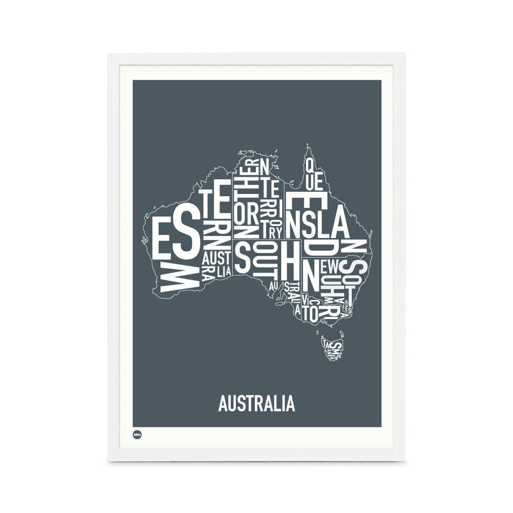 Framed Print, Australia Type Map, Stormy Grey , 30cm x 40cm - Typography Wall Art - The Bowery - 1