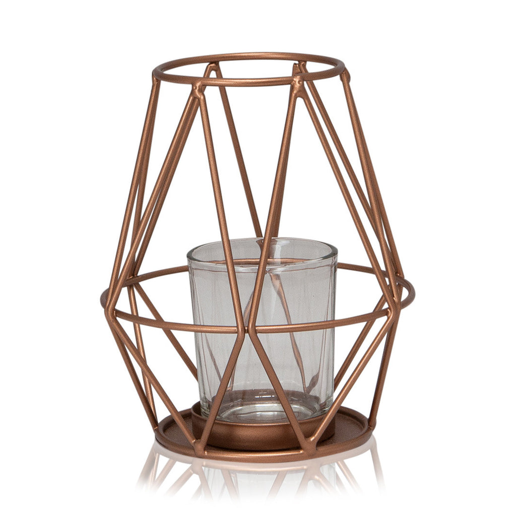 Geometric Archimedes Metal / Glass Tealight Holder, 14cmH x 11.5cmD - Votive Holder - The Bowery - 1