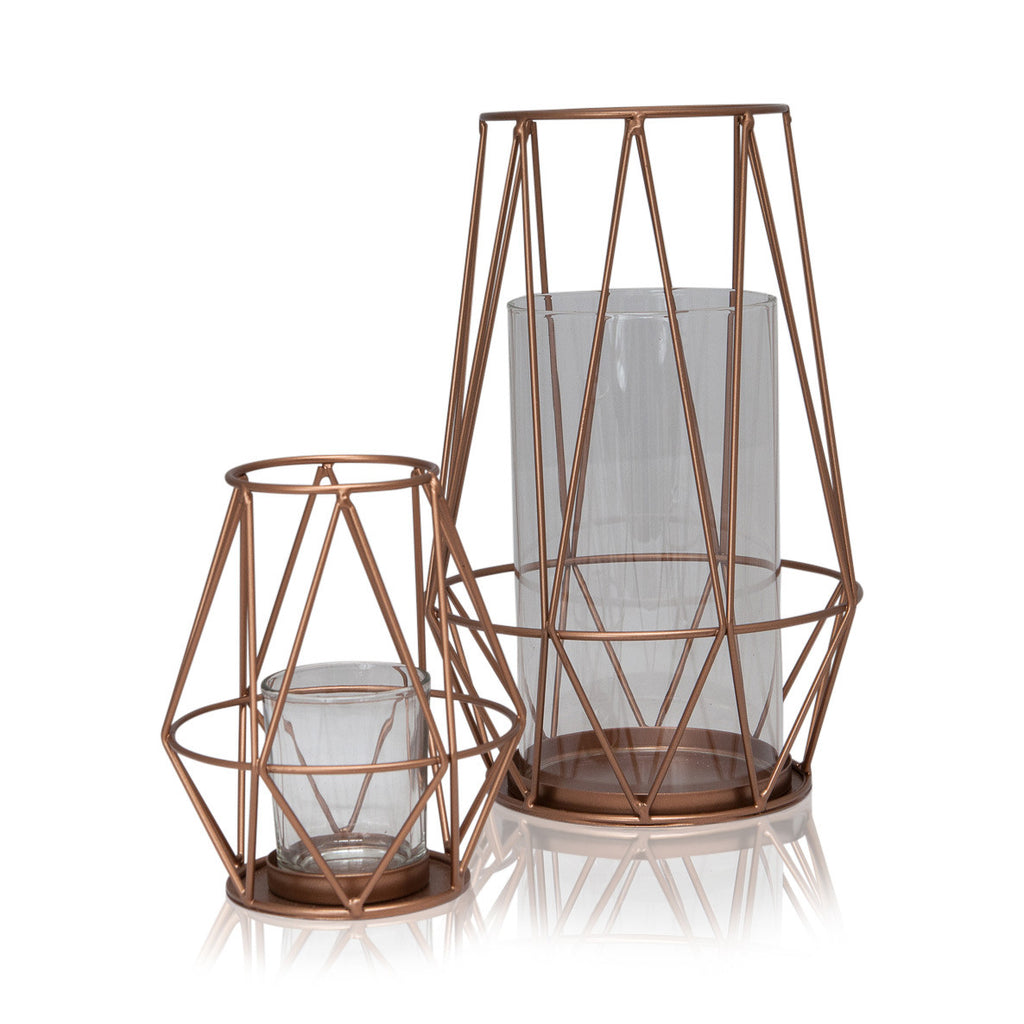 Geometric Archimedes Metal / Glass Tealight Holder, 25cmH x 16.5cmD - Votive Holder - The Bowery - 2