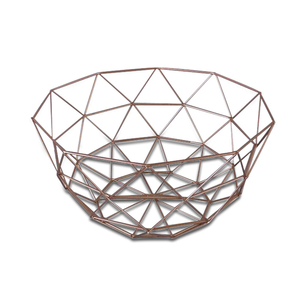 Geometric Wire Metallic Copper Flat Lay Basket/Tray, Set of Two 30cm x 17cm, 26cm x 14cm - Tray - The Bowery - 2