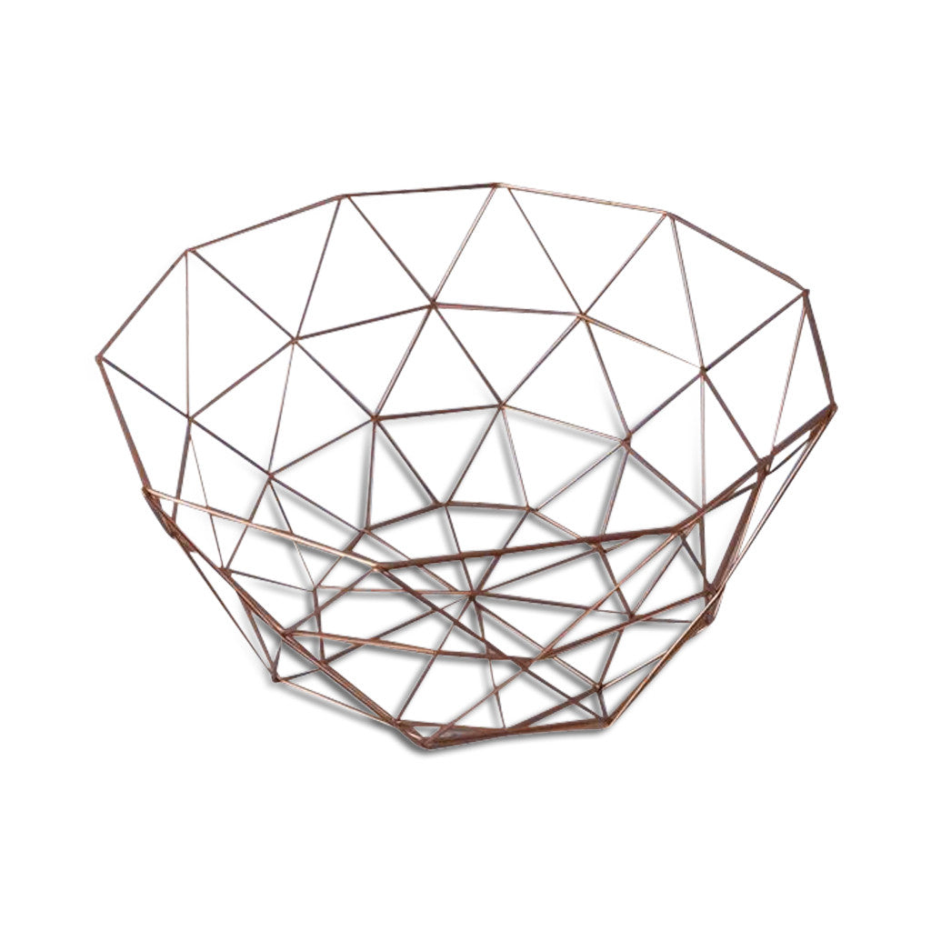 Geometric Wire Metallic Copper Flat Lay Basket/Tray, Set of Two 30cm x 17cm, 26cm x 14cm - Tray - The Bowery - 1