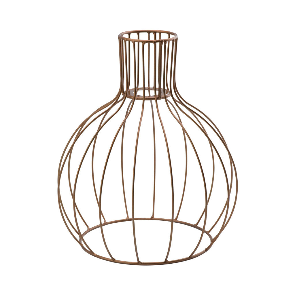 Geometric Wire Metallic Copper Gold Hanging Round Light Fitting,  31cm x 27cm - Light Pendant - The Bowery - 1