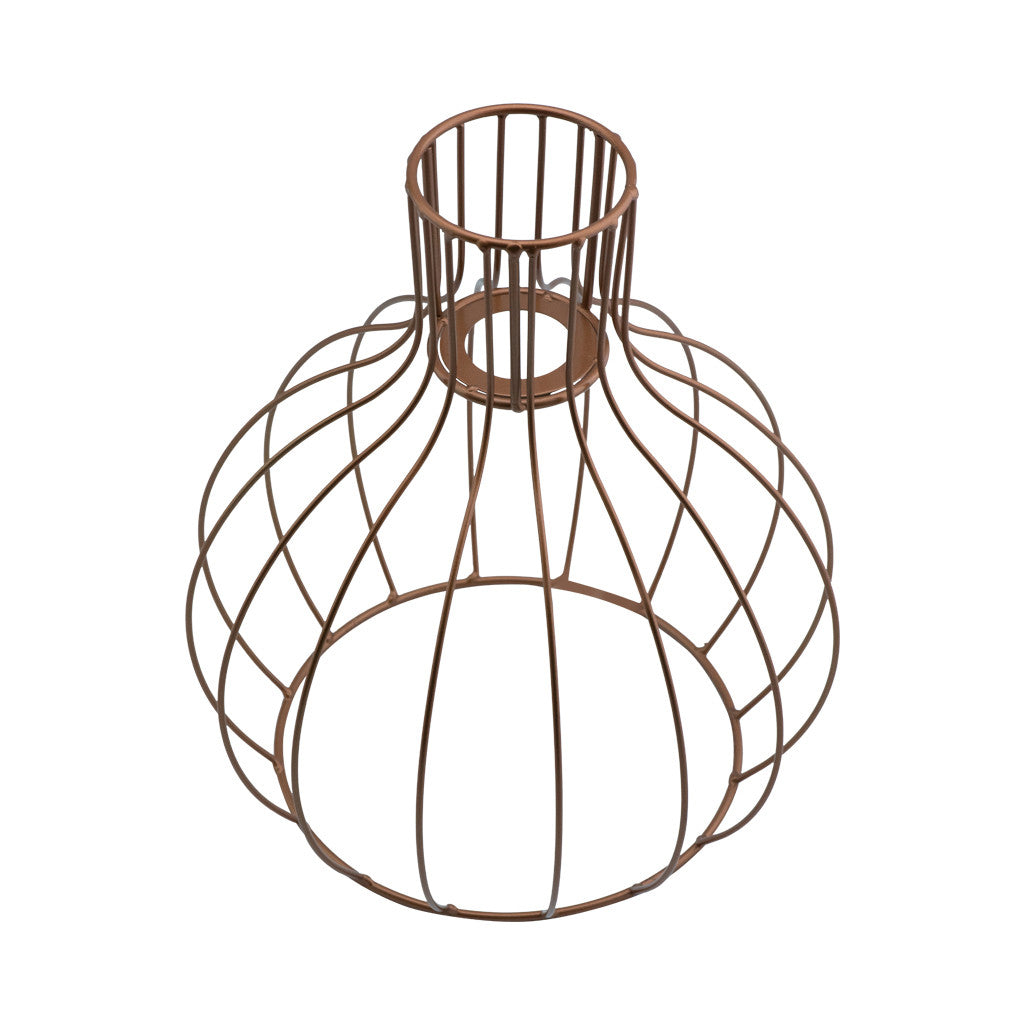 Geometric Wire Metallic Copper Gold Hanging Round Light Fitting,  31cm x 27cm - Light Pendant - The Bowery - 2
