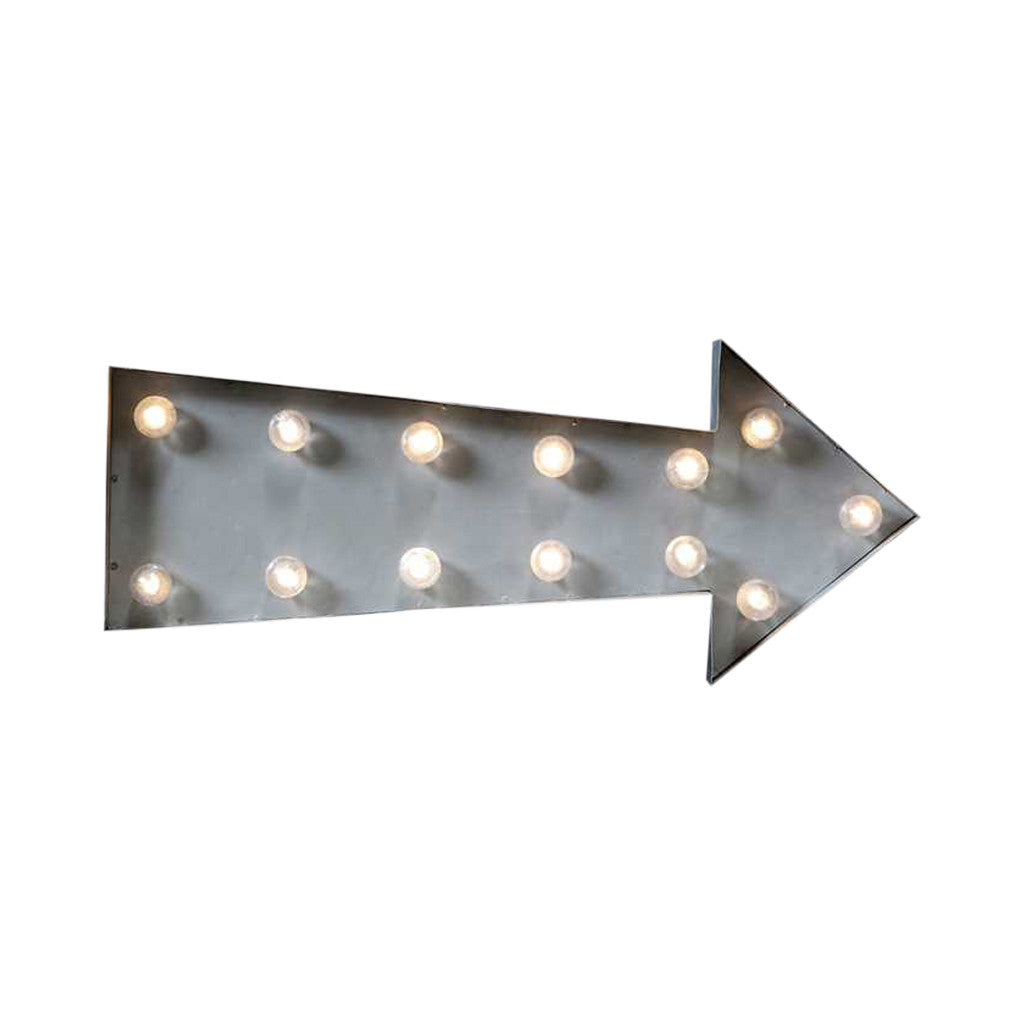 Grey LED Arrow Sign , 50 cm - Marquee Lights - The Bowery