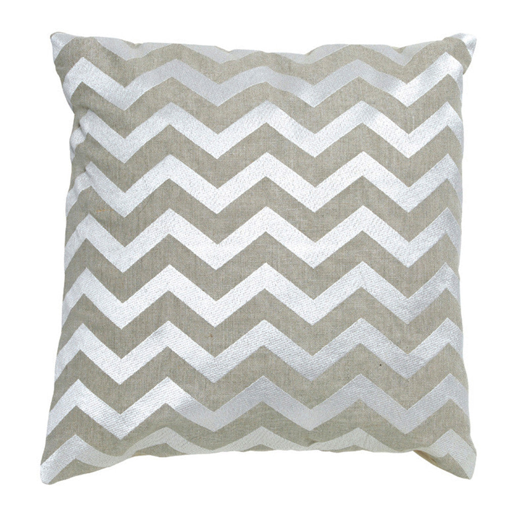 Imogen Chevron Silver Stitch Linen Square Cushion, 40 cm - Cushion - The Bowery