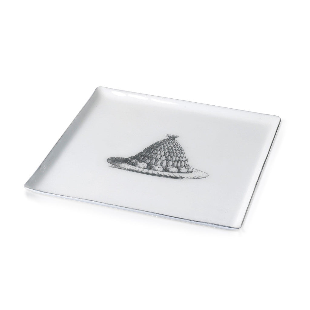 Jelly Plate Square Aluminium And Enamel White 27cm x 27cm - Tray - The Bowery