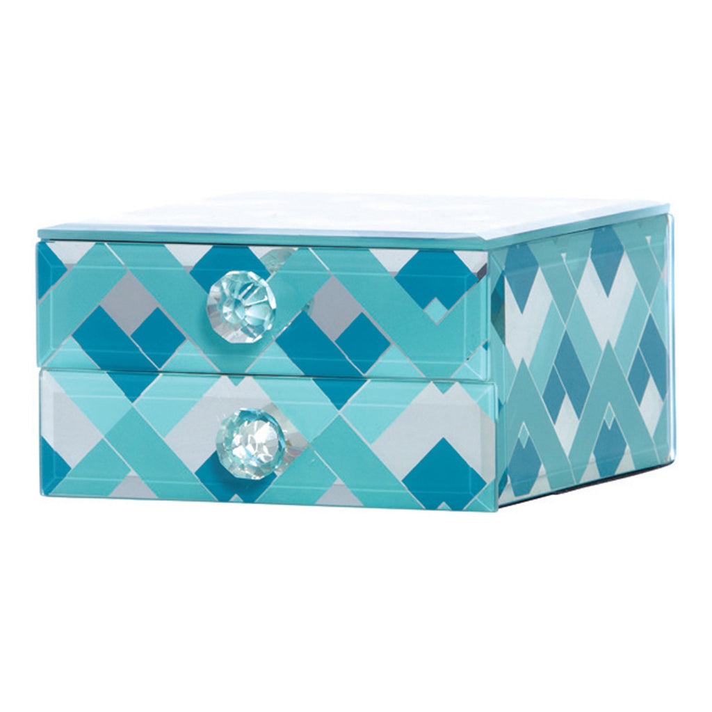 Fairview Mint & Teal Chevron Decorative Box, 13 cm - Boxes - The Bowery - 1