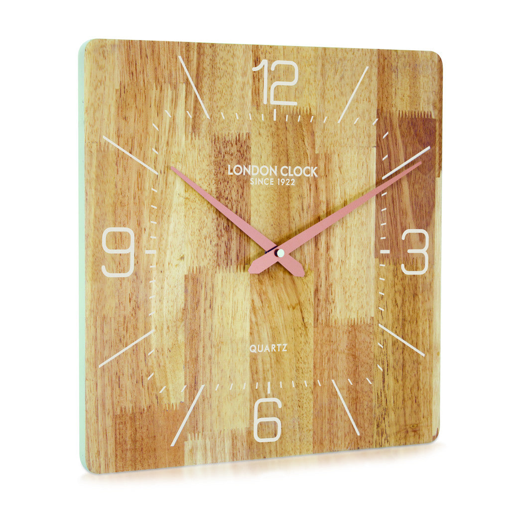 London Clock Company 'Flux' Solid Wood Wall Clock, 35cm x 35cm - Wall Clocks - The Bowery