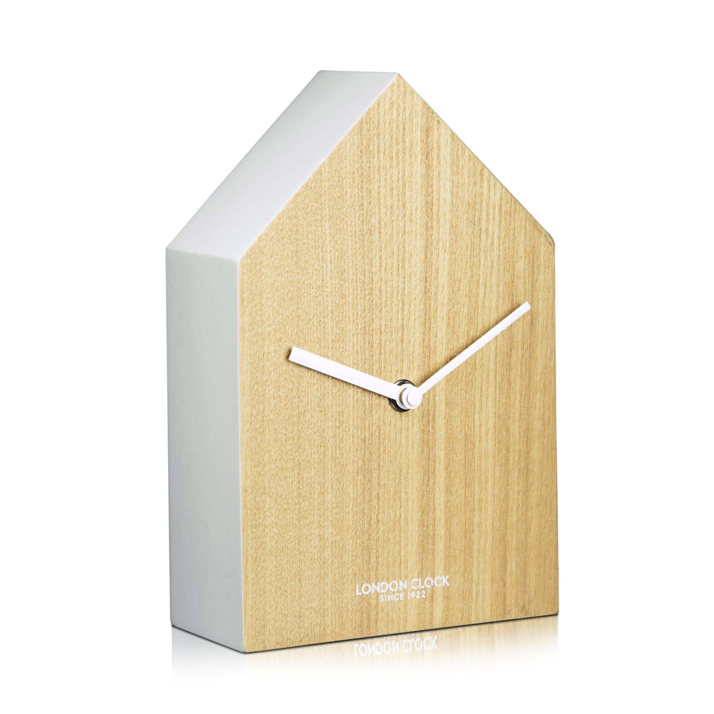 London Clock Company 'Hus' Mantel Clock, Wood and White, 20cm x 13cm x 6cm - Table Clocks - The Bowery