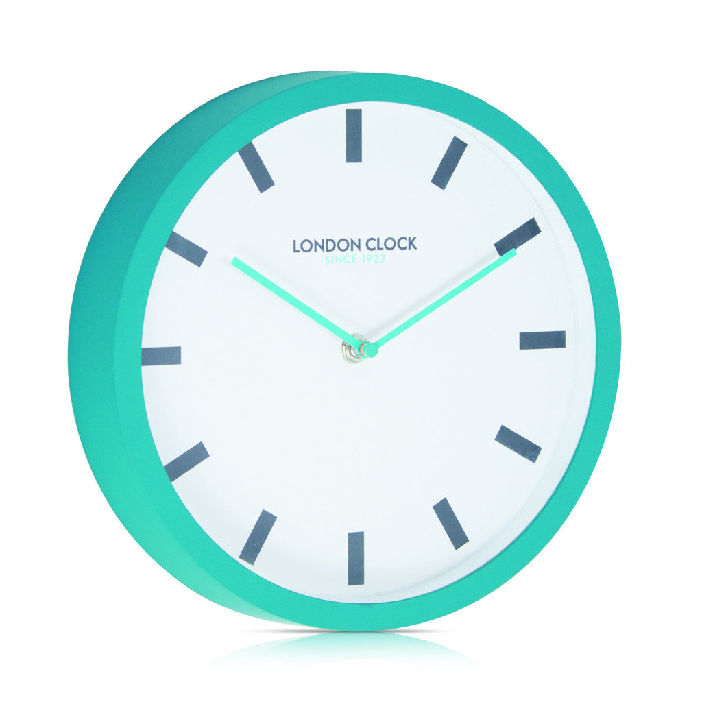 London Clock Company 'POP' Wall Clock Teal, 25cm x 4cm - Wall Clocks - The Bowery