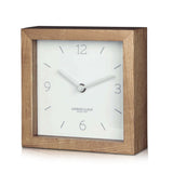 London Clock Company 'Tid' Mantel Clock, White and Wood, 16cm x 16cm x 5cm - Table Clocks - The Bowery