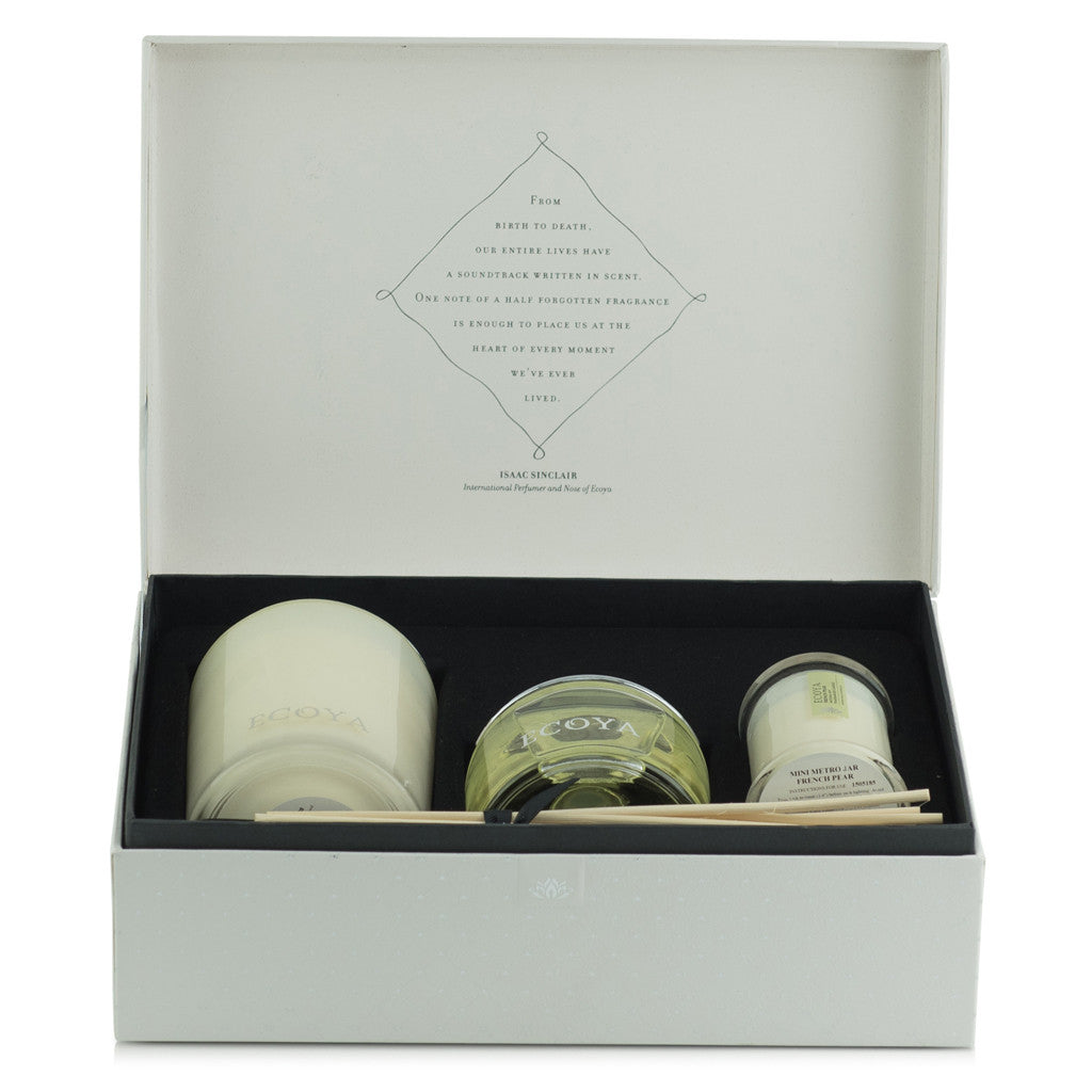 Lotus Flower Scented Large Soy Wax Candle & Diffuser Gift Box , 30 cm x 21 cm x 11 cm - Soy Wax Candles - The Bowery - 2