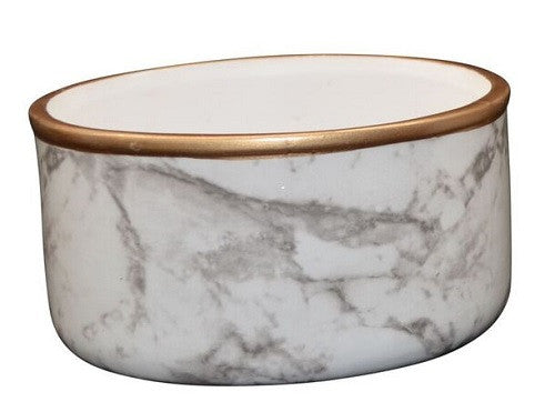 Marble Look Ceramic Dish With Gold Rim 13cm x 6cm - DÌÎÌ__í«̴å©cor - The Bowery