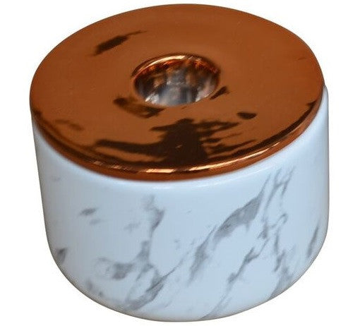 Marble Look Ceramic Dish With Metallic Copper Candle Holder 8cm x 5cm - Votive Holder - The Bowery