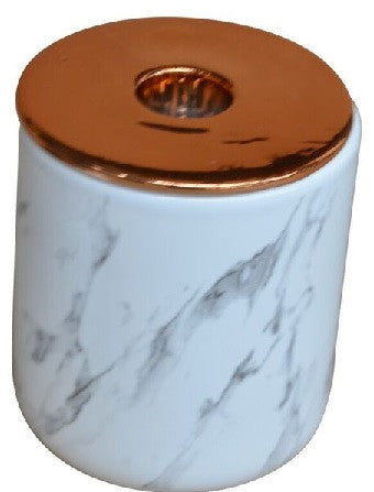 Marble Look Ceramic Dish With Metallic Copper Candle Holder 9cm x 8cm - Votive Holder - The Bowery
