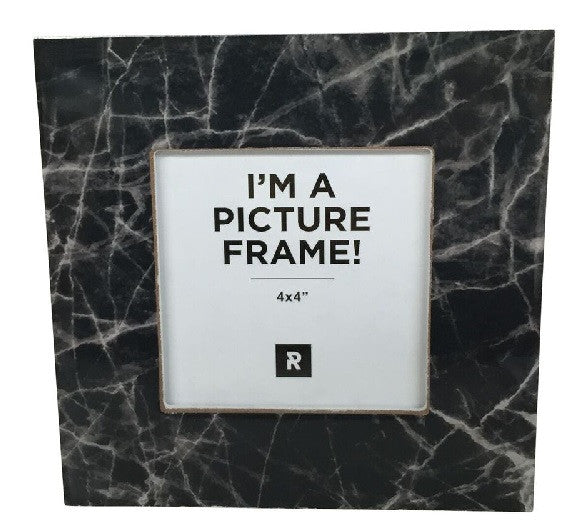Marble Look Photo Frame Black 16cm x 16cm - Photo Frame - The Bowery
