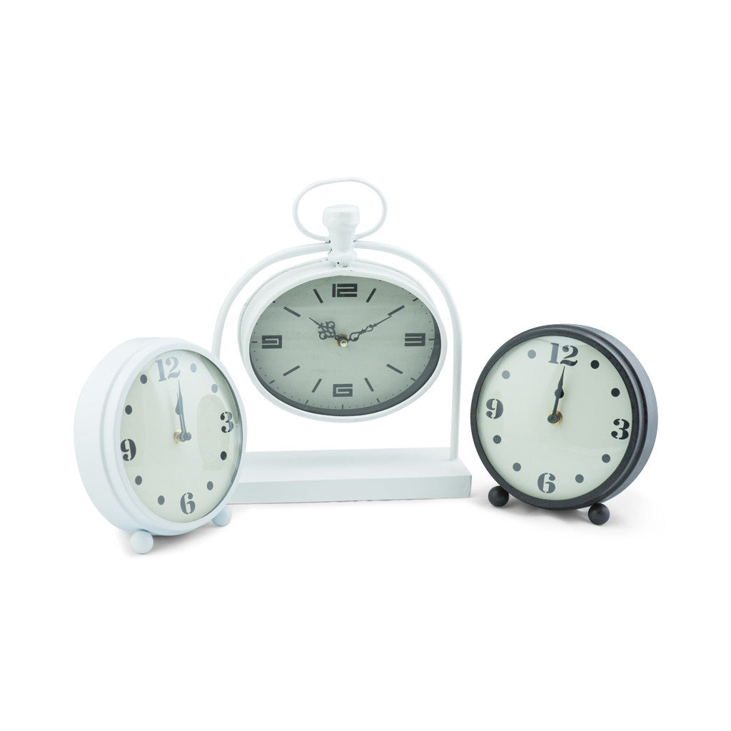 Bassett White Metal Oval Table Clock - Table Clocks - The Bowery - 5