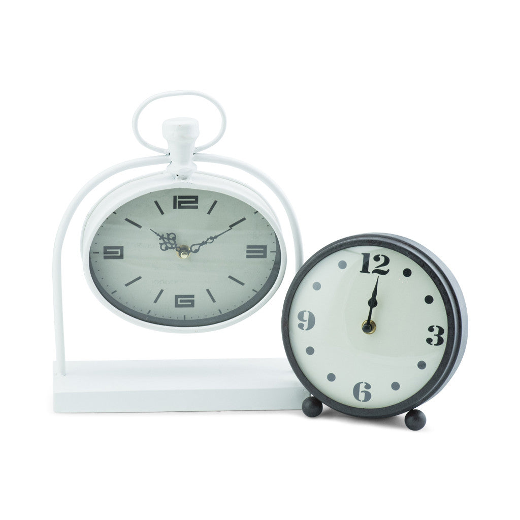 Bassett White Metal Oval Table Clock - Table Clocks - The Bowery - 4