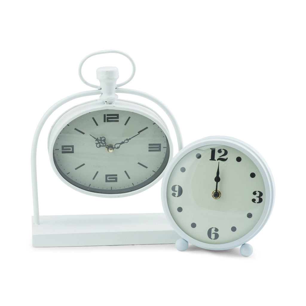 Bassett White Metal Oval Table Clock - Table Clocks - The Bowery - 3
