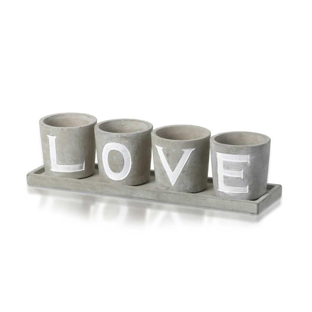 Planter 'Love' Concrete Grey Set of 4, 34cm x 9cm - Vase - The Bowery