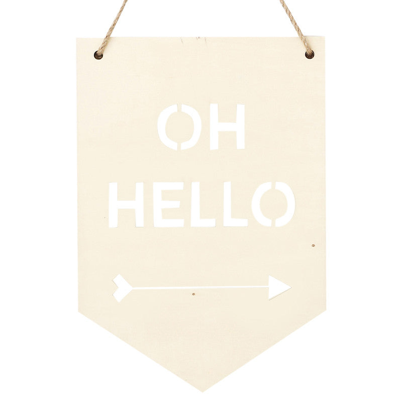 Plywood Banner 'Oh Hello' 28cm x 19.5cm - Wall Quotes - The Bowery