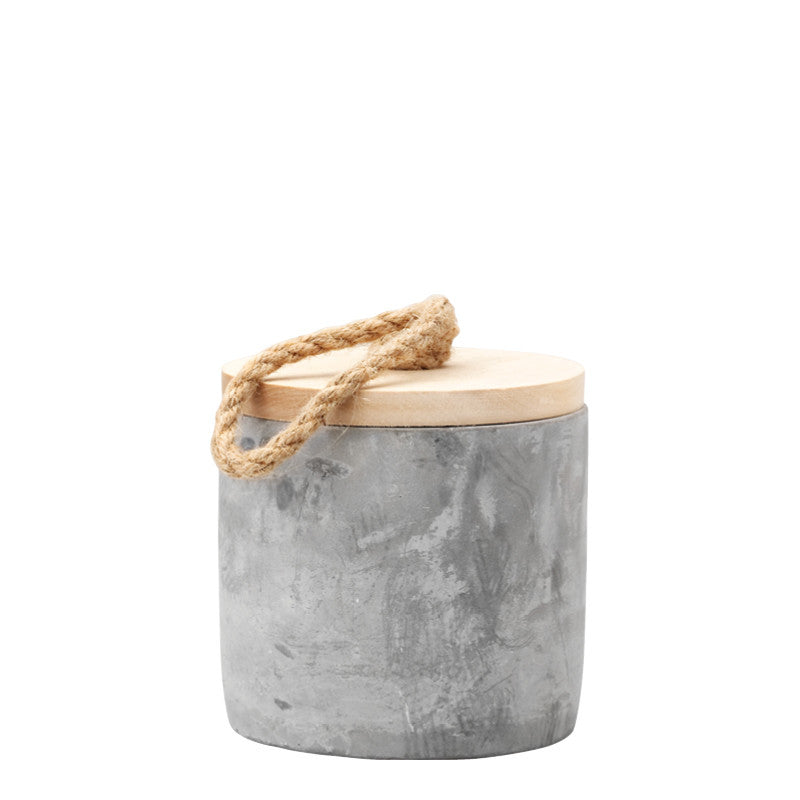 Portland Cement and Wood Jar, 11cm x 11cm - Jars - The Bowery