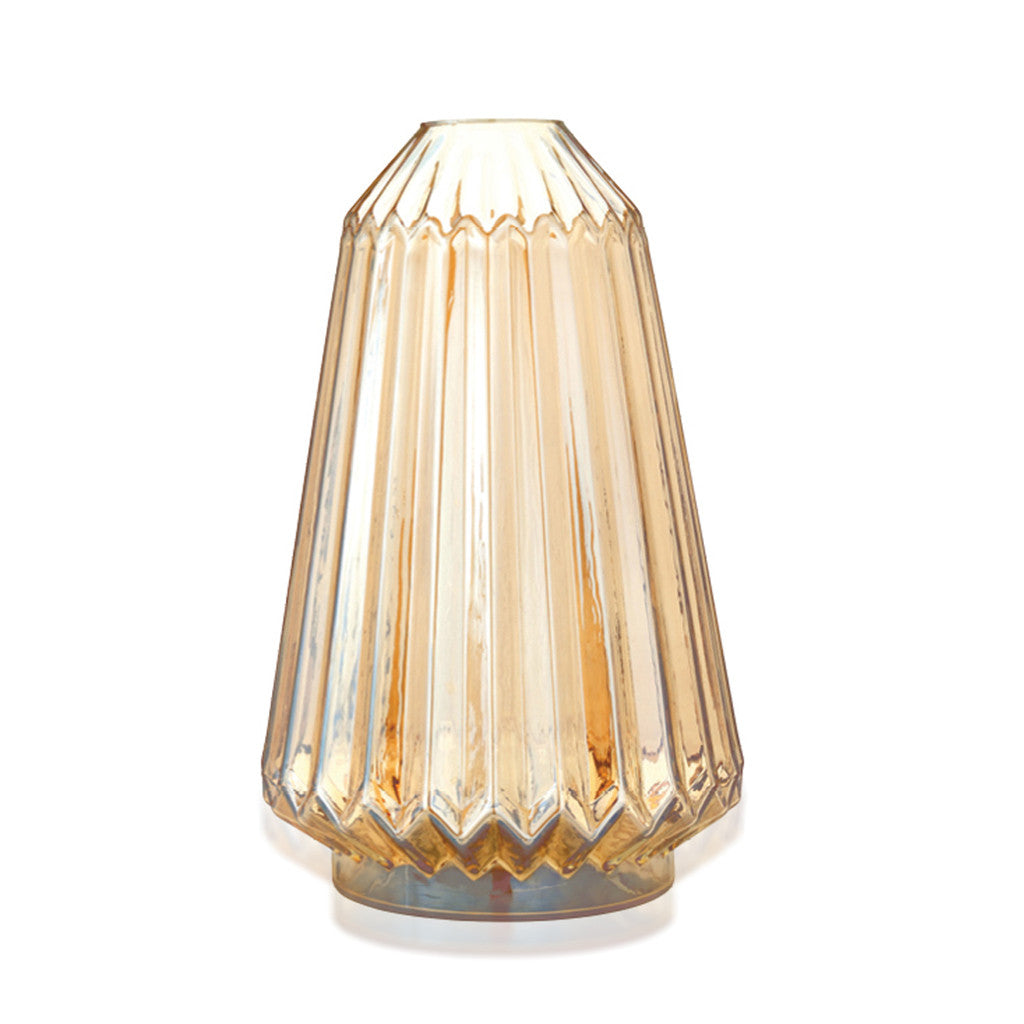 Ribbed Glass Vase 'Ihara' in Gold 34.5cm x 21.5cm - Decor - The Bowery