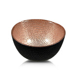 Round Deep Glass Copper And Black Bowl 11cm x 5cm - Bowls - The Bowery - 1