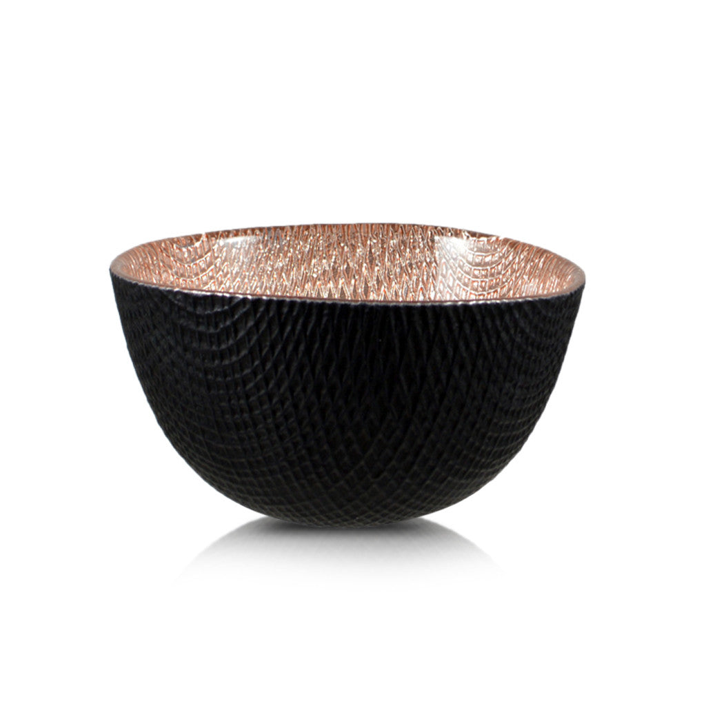 Round Deep Glass Copper And Black Bowl 11cm x 5cm - Bowls - The Bowery - 2