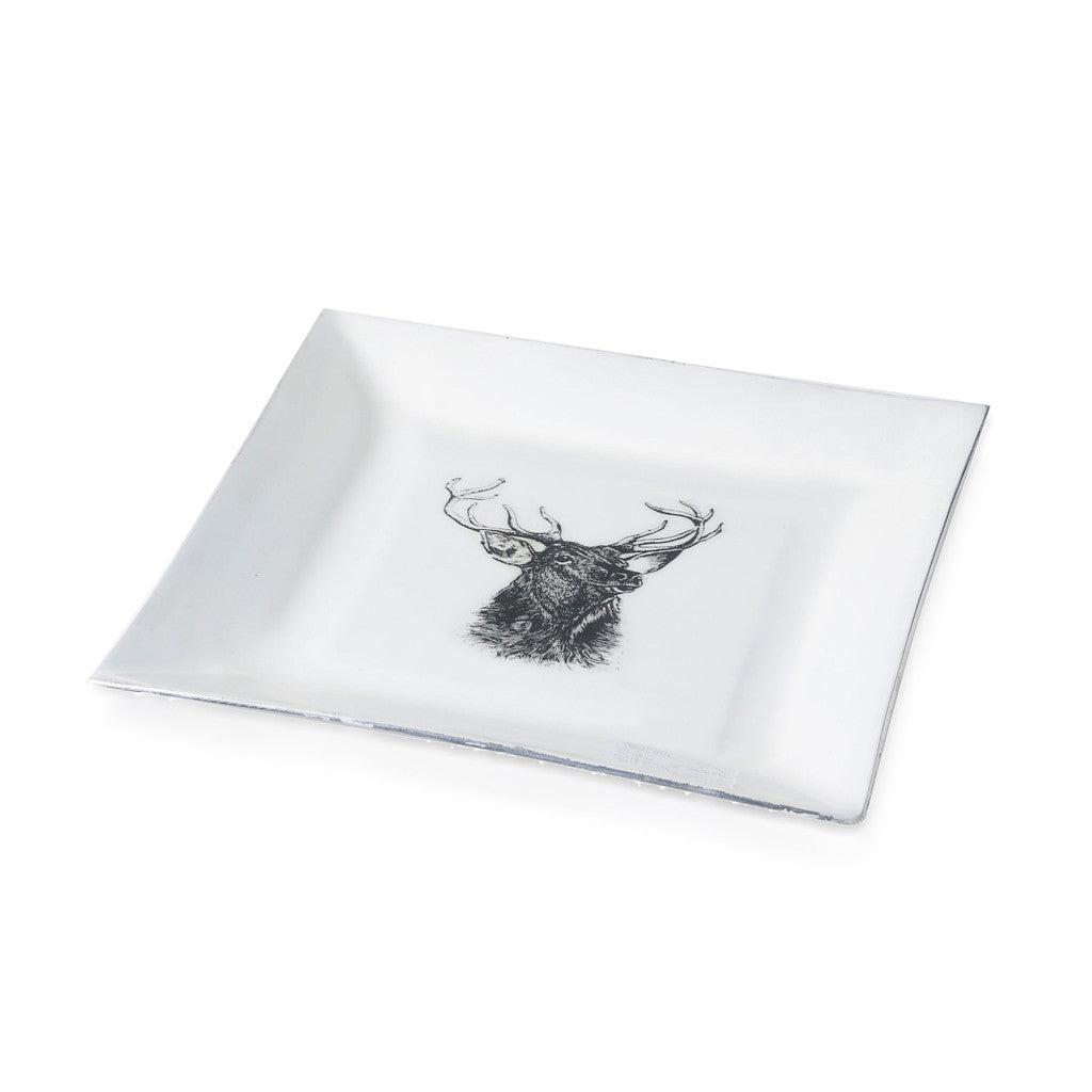 Stag Plate Square Aluminium And Enamel White 22cm x 22cm - Tray - The Bowery