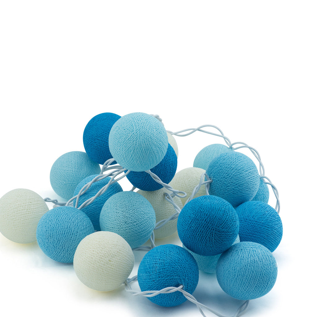 String Lights Cotton Ball Blue - String Lights - The Bowery - 1