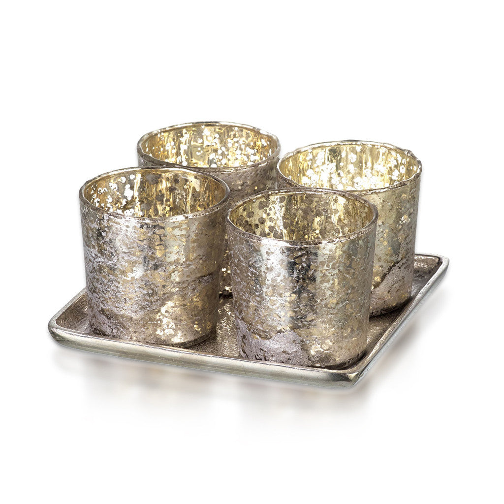 Tea Light Holder 4 With Tray Glass Silver 15.5cm x 7.5 - Votive Holder - The Bowery